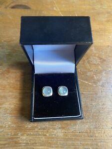 aqua chalcedony Blue Green earrings 925 Sterling Silver Stud Natural Gemstone
