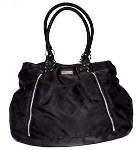 Carter's Black Nylon Shoulder Diaper Bag with 10 Pouch & 2 Zipper Pockets
