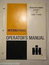 INTERNATIONAL CADET 76 LAWN TRACTOR OPERATOR'S MANUAL 1975 IH