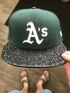OAKLAND ATHLETICS NEW ERA 59FIFTY LEATHER RIP FIT Green Black Fitted 7 1/8