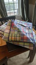 Two Pottery Barn Kids Plaid MADRAS TWIN Quilts with Baby Blanket - Navy Blue