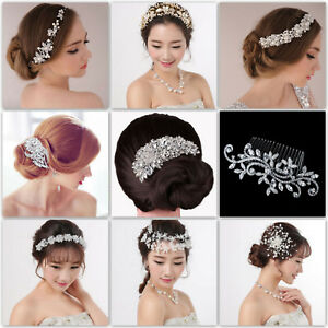 Wedding Bride Crystal Headband HairPin Headpiece Bridal Hair Accessories Jewelry