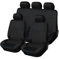 Trax Black Luxury Fabric Deluxe Car Seat Covers Protectors Full Set