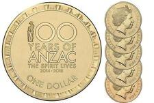 AUSTRALIA 2014 2015 2016 2017 2018 $1 Anzac Coin Set UNC  - SPIRIT LIVES EX ROLL