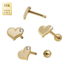 14K Real Solid Gold Single CZ Heart Earrings with Screw-back Stud Ear Piercing