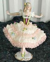 """Antique German Sitzendorf Lace Porcelain Figurine, Ballet Dancer, 6.5""""."""