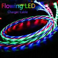 LED Fließlicht Lightning für iPhone Android Micro USB Typ-C Fließendes Kabel 1M