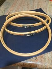 3 wooden embroidery hoops; 1 Round, 2 Oval; screw adjustments; used