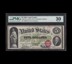 INCREDIBLE 1863 $5 LEGAL TENDER PMG VERY FINE 30