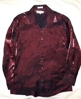 Red & Black Shine_PAUL RENE Shirt_Single Needle Tailoring_Sz.16 / 32-33 (Medium)