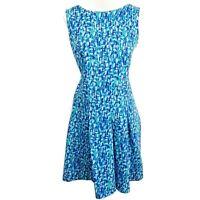 Calvin Klein 12 Shift Dress Blue Colorful Stretch Sleeveless Side Zipper Closure