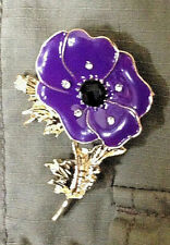 Purple Poppy Badge Metal Sparkle Brooch Large Size