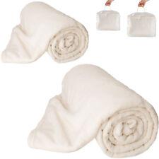 2x Tagesdecke Bettüberwurf Kuscheldecke Schlafdecke 220x240 cm weiß Tragetasche
