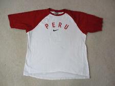 Nike Peru Soccer Shirt Adult Small White Red Futbol Football Cotton Mens 90s *