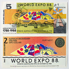 Set 2 diff. Australia scrip currency World Expo 1988 Au-Unc. 2 and 5  Dollars