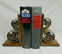 Vintage Modern Heavy Bronze Brass Swirl Curl Sculpture & Wood Bookends MCM