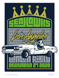 2020 Seattle Seahawks GameDay Poster vs Los Angeles Rams Limited Edition L.E.