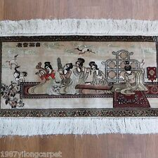 Yilong 2x1 Orient Beaty Portrait Pattern Area Rugs Handmade Persian Silk Carpets