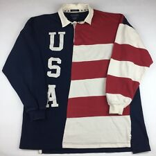 Britches Great Outdoor Usa Rugby Shirt Mens Large Stripes Red White Blue