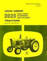 John Deere Model 3020 Tractor Operators Manual JD