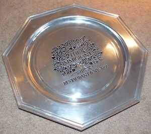 WILTON COLUMBIA THE IMMIGRANT RESTAURANT & WINERY PEWTER PLATE CHARGER OCTAGONAL