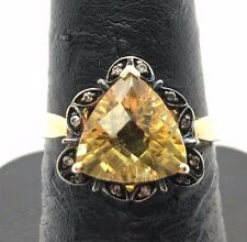 Sterling 925 Gold Tone Faceted Trillion Yellow Citrine CZ Accent Cocktail Ring 7