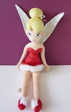 """Disney Store Tinkerbell Christmas soft toy doll fairy plush beanie 22"""" red dress"""
