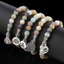 Natural Amazon Stone Beaded 3D/Tree of Life/Lotus Charm Bracelet Lucky Jewelry