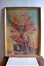 René MARGOTTON (1915-2009) Bateaux au carénage Impression sur panneau de bois