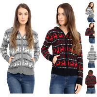Ladies Girls Christmas Novelty 100% Wool Knitted Hooded Zip Sweater Long sleeve
