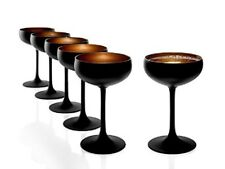 STOLZLE OLYMPIC CHAMPAGNE COUPE SAUCERS GLASSES 6/PK MATT BLACK AND GOLD NEW
