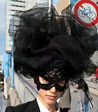 Black Large Cloud Hat  Lace veil  Halloween Costume Drag Queen Accessory