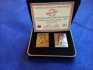 DL: 1995 Highland Mint Lou Gehrig & Cal Ripken Jr Mini Bronze Card Set - Mint