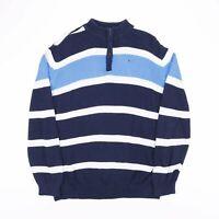 Vintage TOMMY HILFIGER Blue Striped Quarter Zip Knit Jumper Womens Size XL UK 18