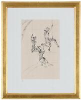 "Fine Toulouse Lautrec ""La Trapeze' Hand Numbered 15/20 Lithograph, Unframed, COA"