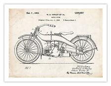1924 HARLEY DAVIDSON HD MOTORCYCLE US PATENT PRINT 18X24 POSTER VINTAGE H-D GIFT
