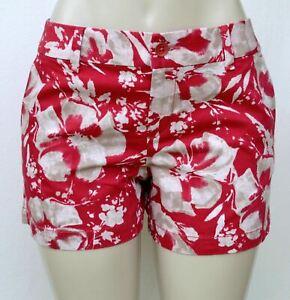 NWT Ann Taylor LOFT Red hibiscus print cotton/linen women's Shorts Sz 4
