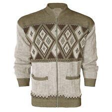 Mens Classic Zip up Cardigan Argyle Diamond Grandad Aztec Two Front Pockets Beige 3xl