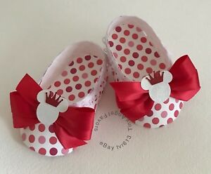 Baby Shower Girl's Shoe Favor Boxes, Minnie Mouse Princess, White & Red, Dots,10