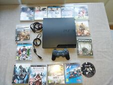 SLIM 160GB PLAYSTATION 3 PS3 CONSOLE, 1 CONTROLLER & 14 GAMES PREOWNED