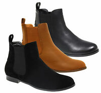 Ladies Gusset Chelsea Ankle Flat Heel Pull On Riding Biker Boots Women Shoes 3-8