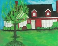 "Original ""Nextdoor"" House Painting 16x20 Acrylic on stretch canvas Leslie Fannon"