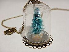 CHRISTMAS TREE TERRARIUM BOTTLE NECKLACE bell jar glass pine Xmas pendant 4H