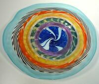 """20"""" HAND BLOWN GLASS WALL OR TABLE PLATTER, DIRWOOD GLASS, RED BLUE GOLD PURPLE"""