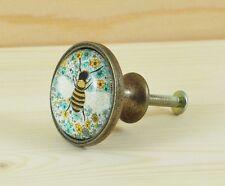 Armario de abeja cajones metálicos Perilla De Vidrio Vintage Bronce Perillas De Armario Gabinete Tire