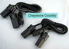 2 Lot 12V Dual Cigarette Lighter Power Extension Cable for Boats Trucks RV & ATV