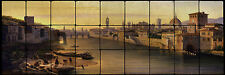 36x12 Florence, A View of the River Arno Mural Tumbled Marble Tiles