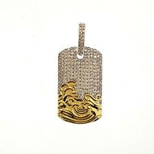 Mens 14K Gold Plated Lab Stimulated Diamond Iced Tsnami Dog Tag Hip Hop Pendant