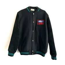 Vintage Ford Button Up Black Jacket V8 Patch Made In Australia Size L Approx.