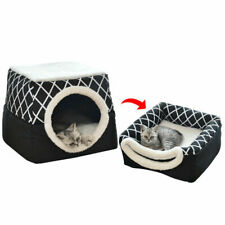 Foldable Cat Bed Soft Cat Cave Beds Two-Use Puppy Kennel With Removable Cushion